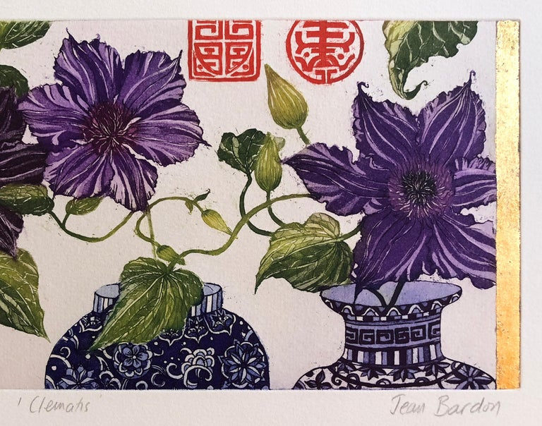 Clematis, etching with gold leaf by Jean Bardon For Sale 4