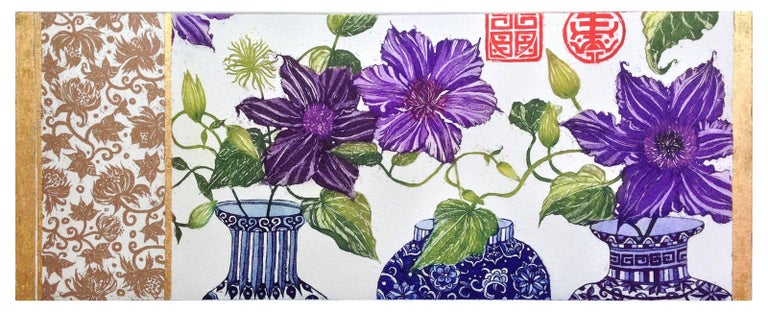 The formality, ornamental qualities and boldness of botanical art strongly influence Bardon's art. It is easy to see her inspiration in the patterns, line and simplicity of form found in Asian art. Some prints also include gold leaf,  recalling the