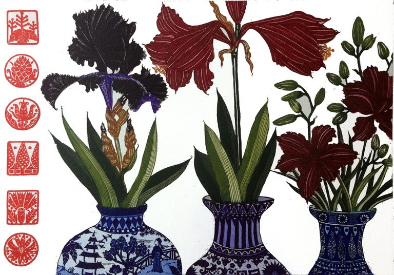 Jean Bardon Still-Life Print - Iris, Amaryllis, Lilies