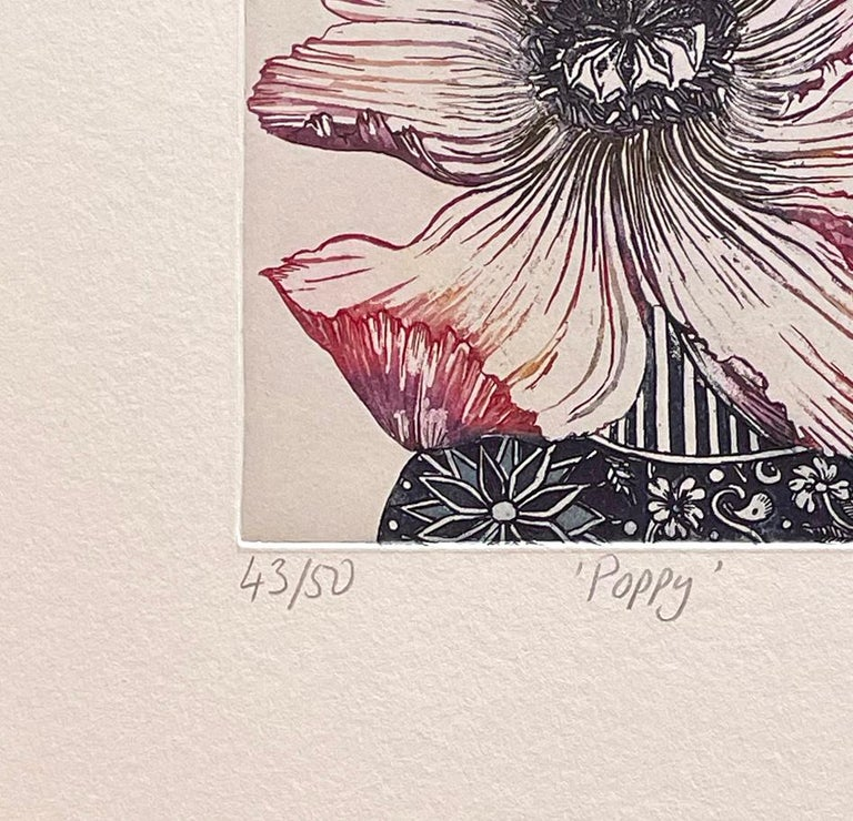 poppy - Beige Still-Life Print by Jean Bardon