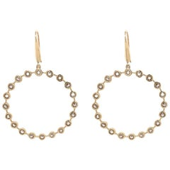Jean Basse Gypsy Hoop Gold and Gemstone, Rose Cut Diamond Hoops