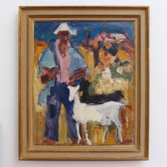 'The Spanish Shepherd' by Jean Baudet, Mid-Century Modern Oil Painting, 1966