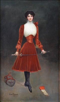 En Garde - 19th Century French Belle Epoque Oil Painting Portrait Fencing Girl