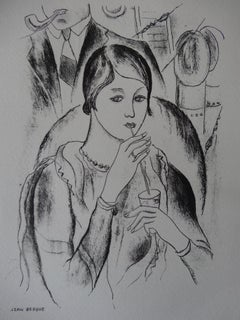 Kate : Drinking Woman - Stone lithograph, 1930