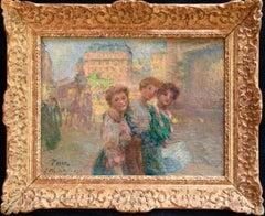 Les Trois Soeurs - Impressionist Oil, Women in City Landscape by J B Pegot-Ogier