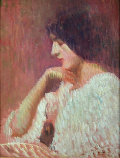 Portrait d'un Femme - Impressionist Oil, Portrait of a Woman by Jean Pegot-Ogier