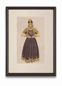 """""""Jewish Bride of Fez"""" from """"Costumes of Morocco"""", Gouache on Paper"""