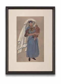 """""""Jewish Woman of the Tafilelt"""" from """"Costumes of Morocco"""", Gouache on Paper"""
