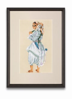 """""""Townwoman Dressed For Housework"""" from """"Costumes of Morocco"""", Gouache on Paper"""