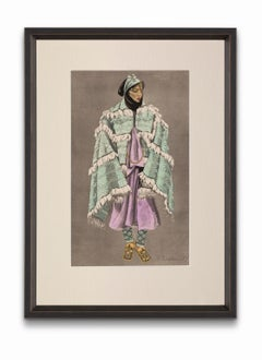 """""""Woman of the Aït MGuild"""" from """"Costumes of Morocco"""", Gouache on Paper"""