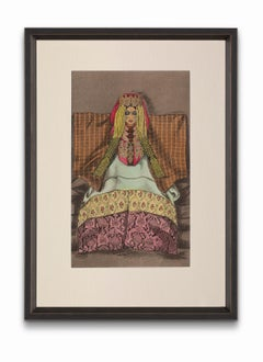 """""""Woman of the Imerrhane"""" from """"Costumes of Morocco"""", Gouache on Paper"""