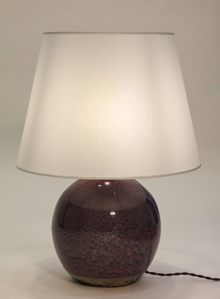 Mid-20th Century Jean Besnard Ceramic Purple Sphere Lamp France circa 1935, Signed 'JB' 'France'