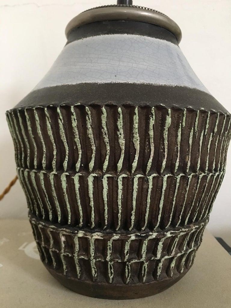 Enameled Jean Besnard Ceramic Table Lamp, 1930s For Sale
