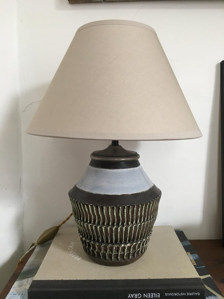 Mid-20th Century Jean Besnard Ceramic Table Lamp, 1930s For Sale