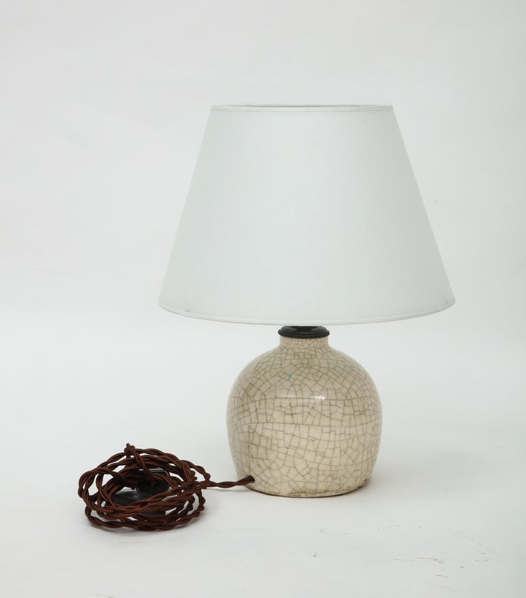 Early 20th Century Jean Besnard Crackle Ceramic Lamp, Parchment Shade, France, c. 1926, Signed For Sale