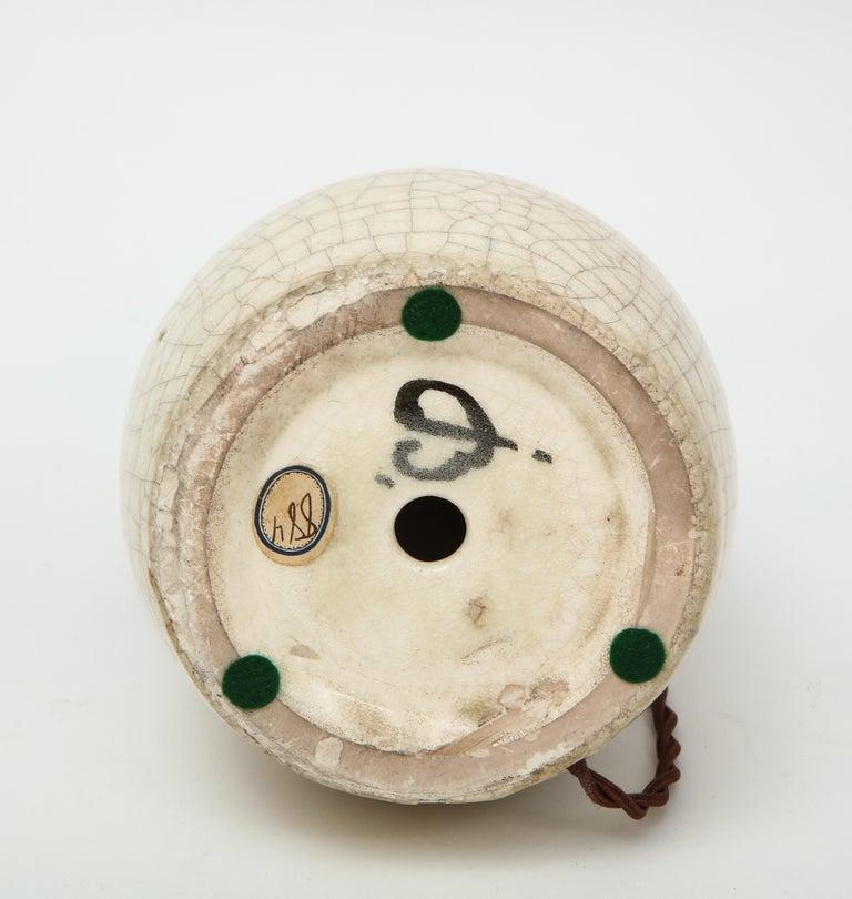 Jean Besnard Crackle Ceramic Lamp, Parchment Shade, France, c. 1926, Signed For Sale 1