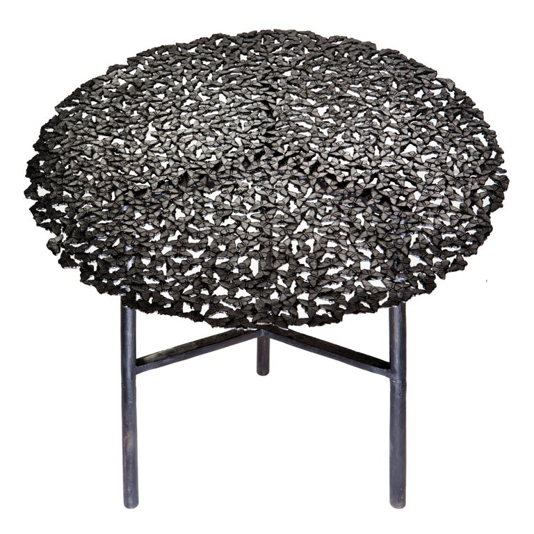 Jean Blackened Brass Lost Wax Cast Butterfly Indoor or Outdoor Side Table For Sale