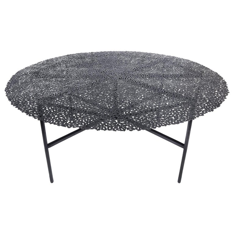 Jean Blackened Bronze Lost Wax Cast Butterfly Indoor or Outdoor Dining Table For Sale