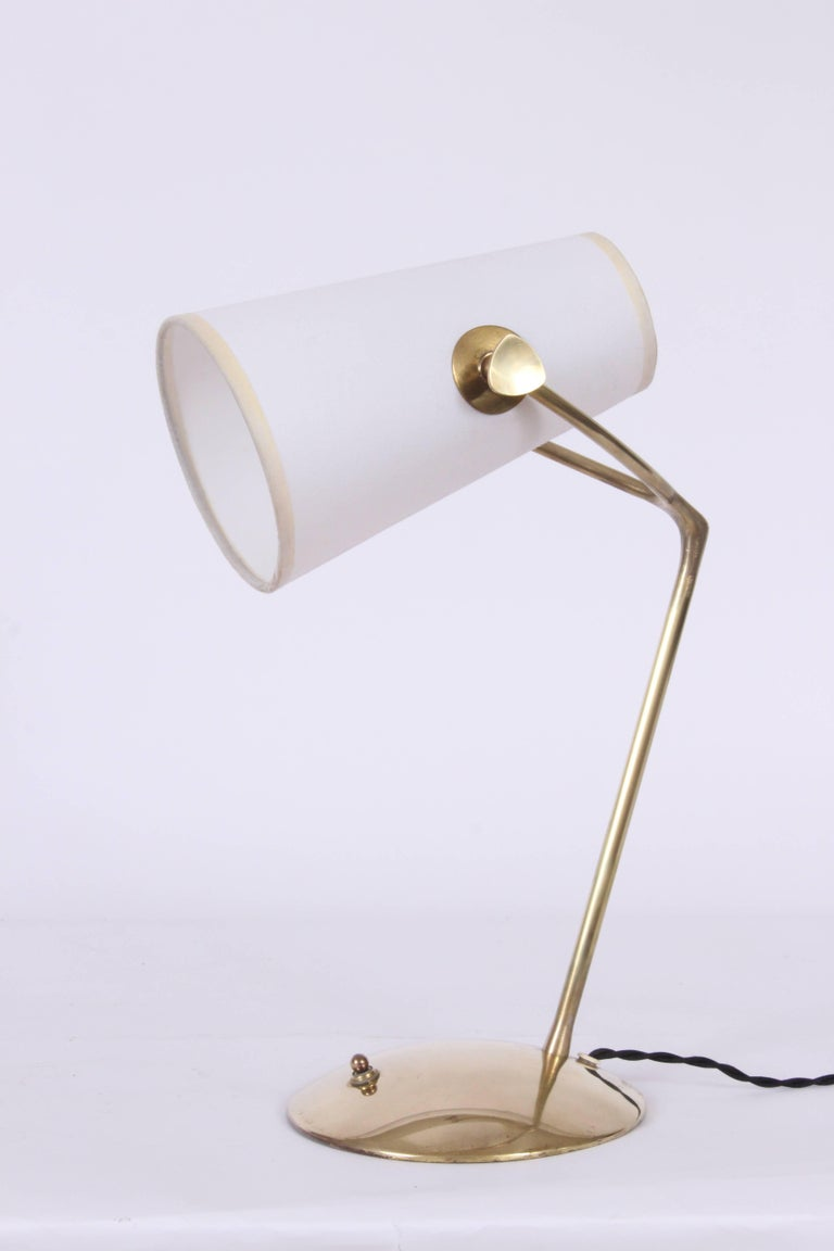 Mid-Century Modern Jean Boris Lacroix Brass Desk Lamp with White Paper Shade, 1950s For Sale