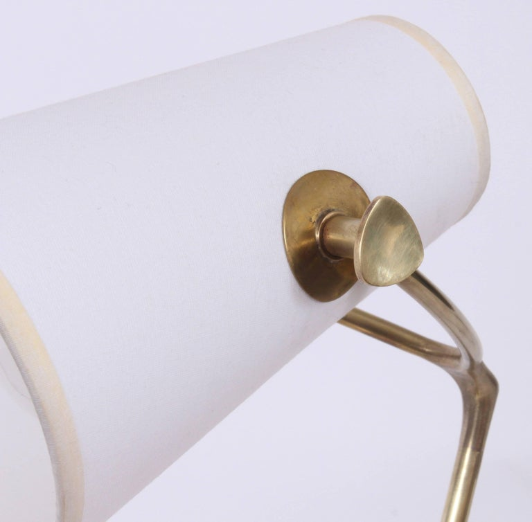 French Jean Boris Lacroix Brass Desk Lamp with White Paper Shade, 1950s For Sale