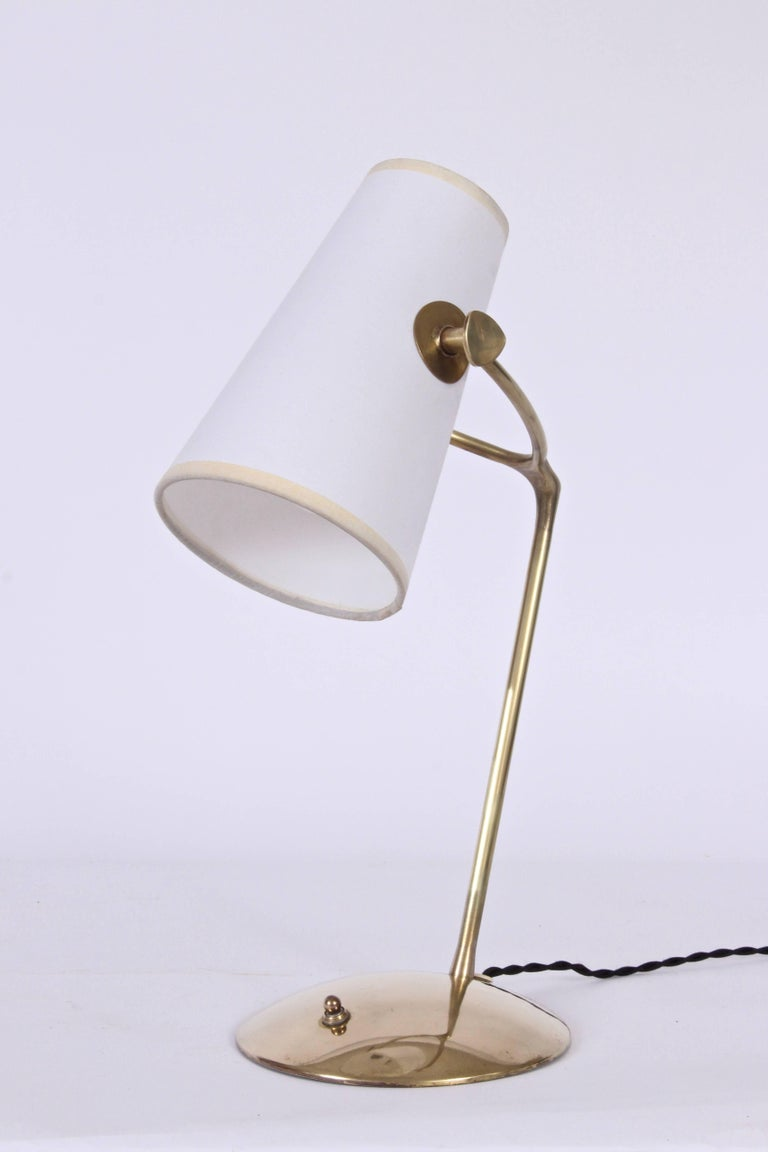 Mid-20th Century Jean Boris Lacroix Brass Desk Lamp with White Paper Shade, 1950s For Sale