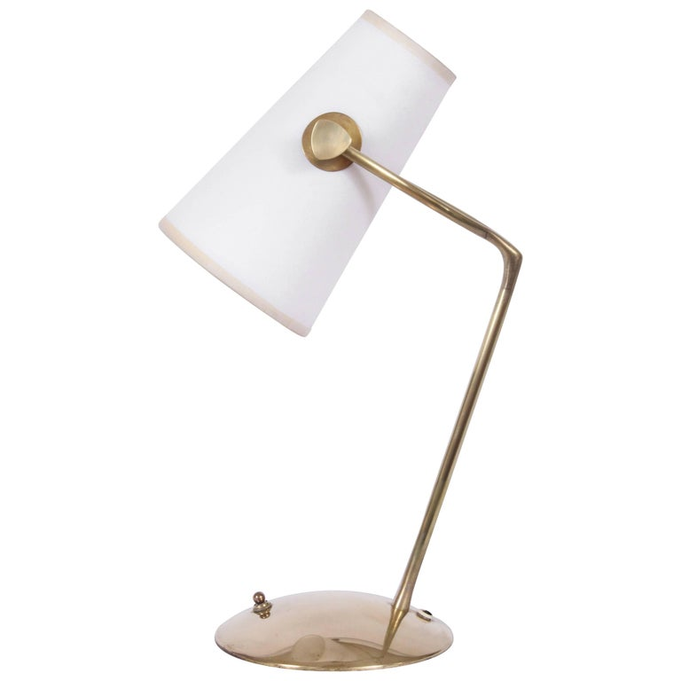 Jean Boris Lacroix Brass Desk Lamp with White Paper Shade, 1950s For Sale