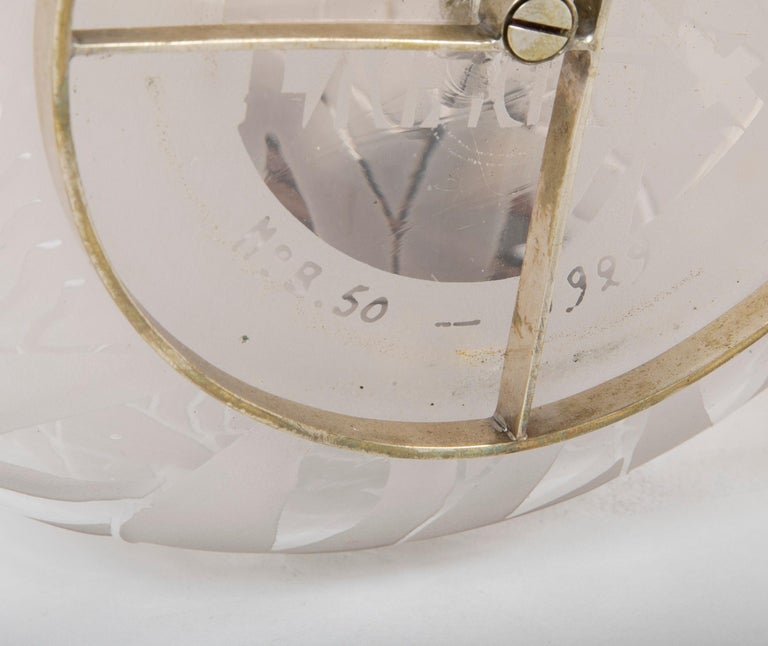 Jean Boris Lacroix Etched Glass Lamp in Rounded Form For Sale 4