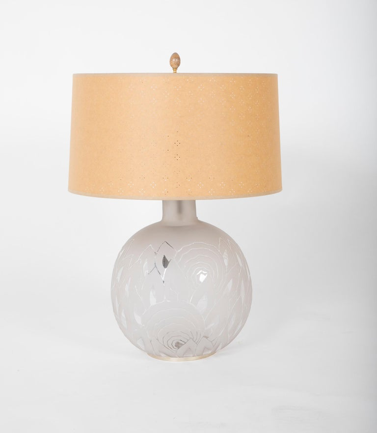 Mid-Century Modern Jean Boris Lacroix Etched Glass Lamp in Rounded Form For Sale