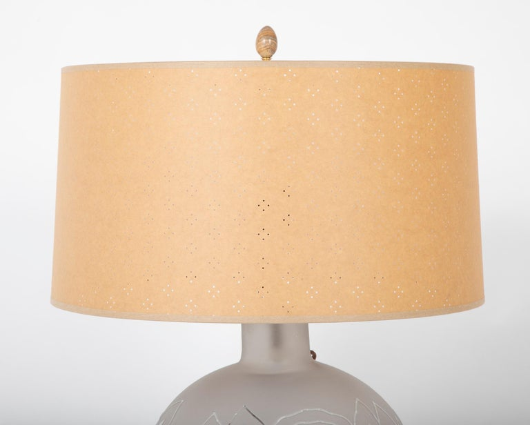 French Jean Boris Lacroix Etched Glass Lamp in Rounded Form For Sale
