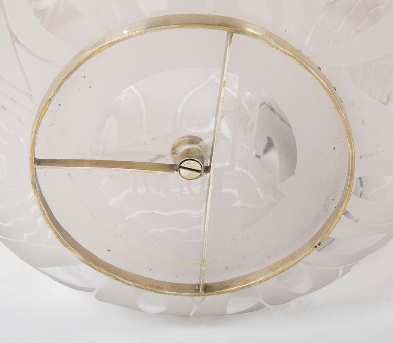 Jean Boris Lacroix Etched Glass Lamp in Rounded Form For Sale 3