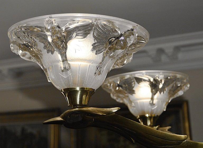Jean-Boris Lacroix French Art Deco Bird Chandelier, 1930s For Sale 1