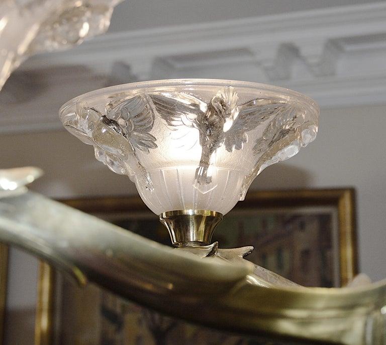 Jean-Boris Lacroix French Art Deco Bird Chandelier, 1930s For Sale 2