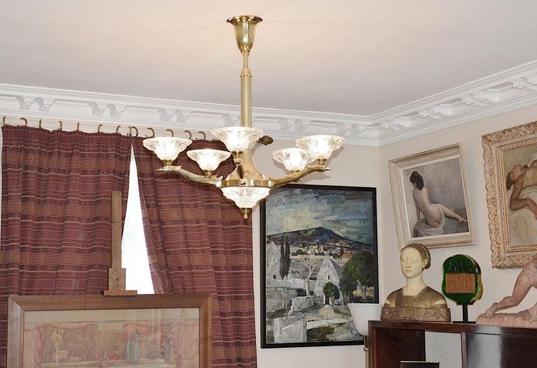Jean-Boris Lacroix French Art Deco Bird Chandelier, 1930s For Sale 4