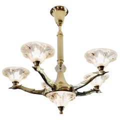 Jean-Boris Lacroix French Art Deco Bird Chandelier, 1930s
