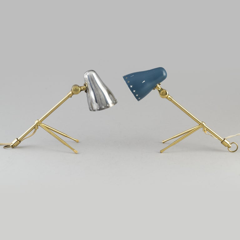 Mid-Century Modern Jean Boris Lacroix, Pair of Table/Wall Lights, 1950s For Sale
