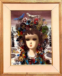 Italian Surrealist Oil Painting Jean Calogero Big Eyed Girl Doll