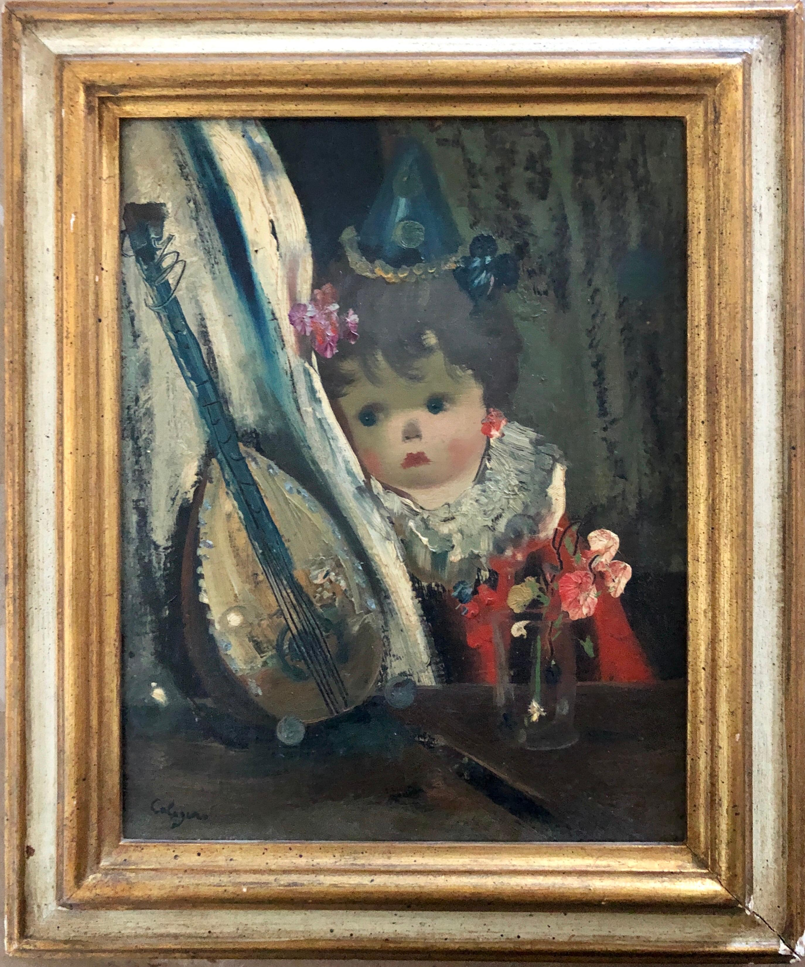 Italian Surrealist Oil Painting Jean Calogero Big Eyed Girl Doll Mandolin Flower