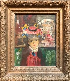 L'Enfant, Colorful Surrealist Child Girl with Bonnet in Venice