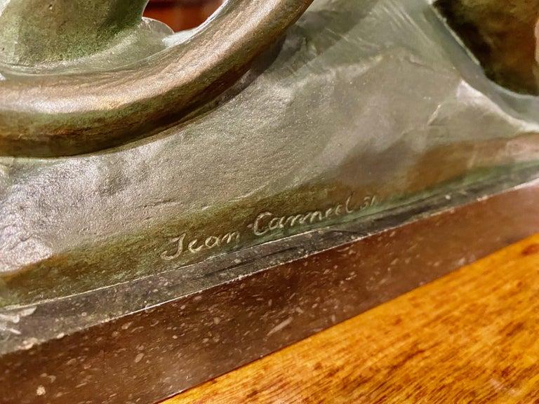 Jean Canneel Cubist Panther by Art Deco Belgian Sculptor Bronze For Sale 9
