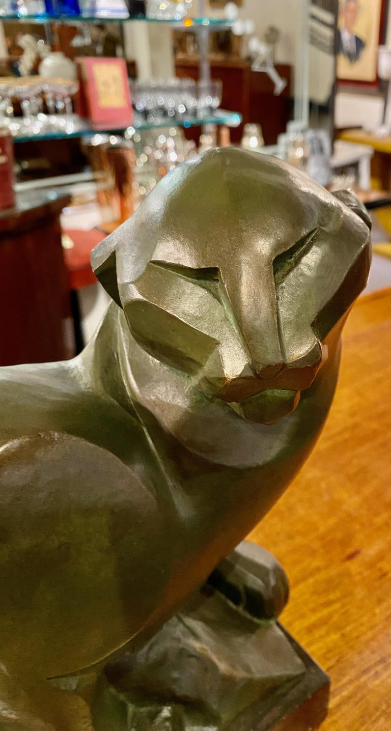 Jean Canneel Cubist Panther by Art Deco Belgian Sculptor Bronze In Good Condition For Sale In Oakland, CA