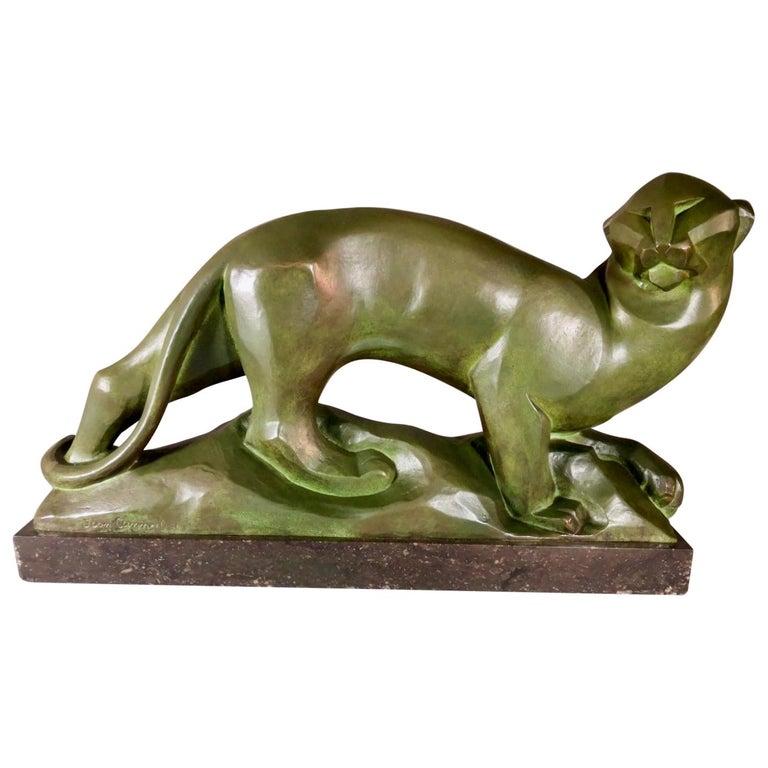 Jean Canneel Cubist Panther by Art Deco Belgian Sculptor Bronze For Sale