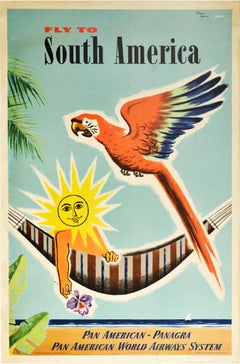 Original Vintage Poster Fly To South America Pan Am Air Travel Beach Parrot Sun