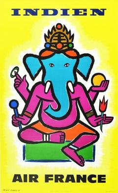 Original Vintage Airline Poster Indien Air France India Hindu Elephant Ganesha