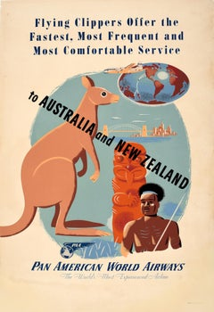 Original Vintage Pan Am Travel Poster To Australia And New Zealand Pan American