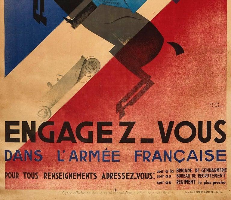 Original Vintage Poster French Army Soldier Sport Art Deco Horse Car Plane Flag - Beige Print by Jean Carlu