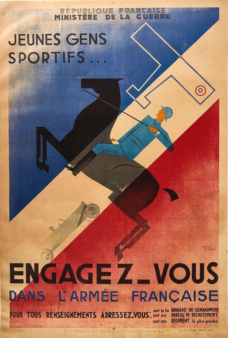 Jean Carlu Print - Original Vintage Poster French Army Soldier Sport Art Deco Horse Car Plane Flag