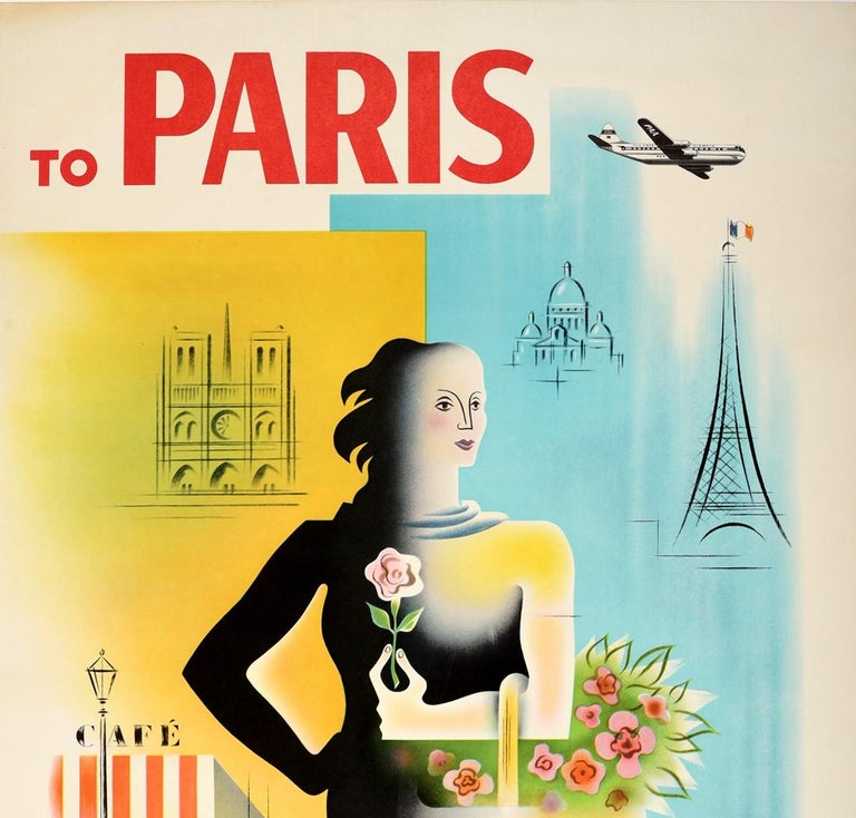 Original Vintage Poster To Paris Pan American Air Travel Eiffel Tower Notre Dame - Print by Jean Carlu