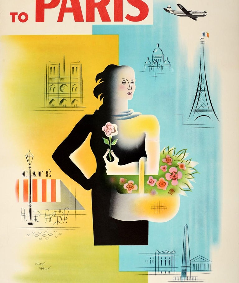 Original vintage travel poster - To Paris Pan American World's Most Experienced Airline - featuring a colourful design by Jean Carlu (1900-1997) depicting a lady holding a basket of flowers and a rose in her hand with illustrations of seating