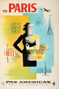 Original Vintage Poster To Paris Pan American Air Travel Eiffel Tower Notre Dame