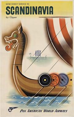 Pan American World Airways Scandinavia by Clipper original vintage poster